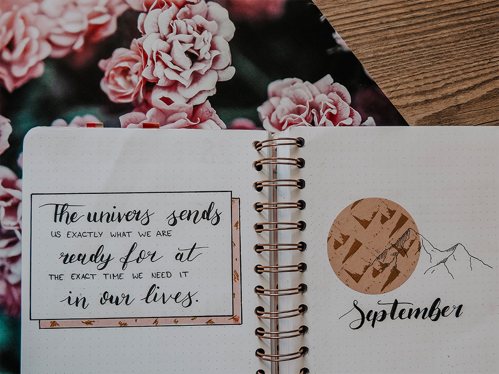 BuJo Cover Page with quote